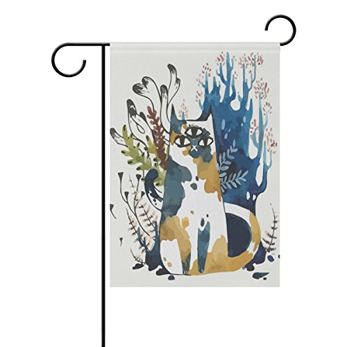 Decorative Flags for Outside Double Sided Welcome Garden Flag with Novelty Animal Three Eyes Cat for Yard Flags Outdoor Flags
