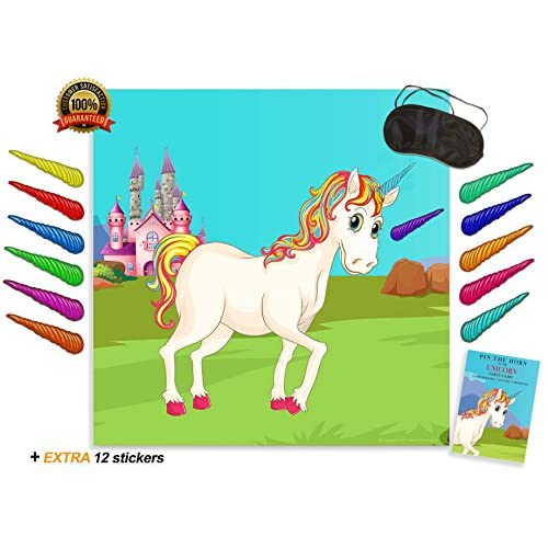 Nice Alpine Celebrations PIN THE HORN on the UNICORN GAME - Kids birthday party supplies with large rainbow poster & stickers for sale