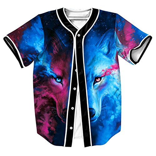 HOP FASHION Youth Unisex Boy Girl Baseball Jersey Short Sleeve 3D Colorful Wolf Print Dance Team Uniform Tops Tees HOPM007-26-M
