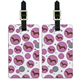 Graphics & More Luggage Suitcase Carry-on Id Tags-Dachshund Wiener Dog-Pink Cartoon, White