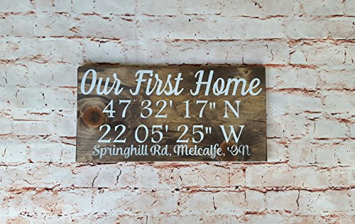 GPS coordinates wood plaque, Wooden personalized signs, Housewarming gift, Wedding anniversary gift, Longitude latitude sign, Personalized wood sign