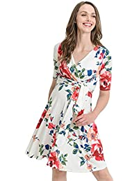 afc8998998 Women s Floral Faux Wrap Side Tie Nursing and Maternity Dress
