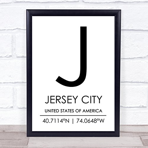 Jersey City United States of America Coordinates Travel Quote Wall Art -