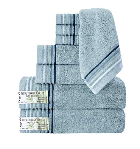 Classic Turkish Towels Green Bath Towel Set - Hypoallergenic Turkish Cotton Bamboo Bathroom Towels - Soft Fast-Drying Striped Ribbon Dobby Hotel Collection Towels Bulk Pack - 8 Pc Bath Towel Set