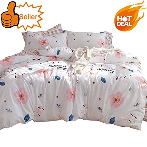 OTOB Reversible Leaf Flower Queen Duvet Cover Set with 2 Pillow Shams for Kids Girls Pink Blue White Cotton Floral Striped Pattern 3 Piece Queen Full Size Teen Bedding ()