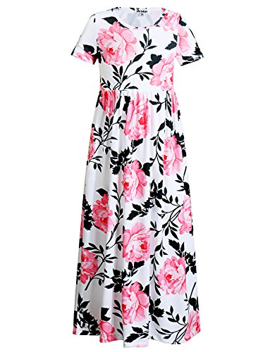 - Jxstar Girl Floral Flared Pocket Maxi Short Sleeves Elegant Holiday Long Dress