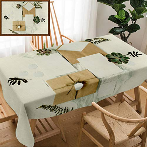 Unique Custom Design Cotton And Linen Blend Tablecloth Flat Lay Workspace Wedding Invitation Cards Craft Envelopes Pink And Red Roses And Green LeavesTablecovers For Rectangle Tables, 70