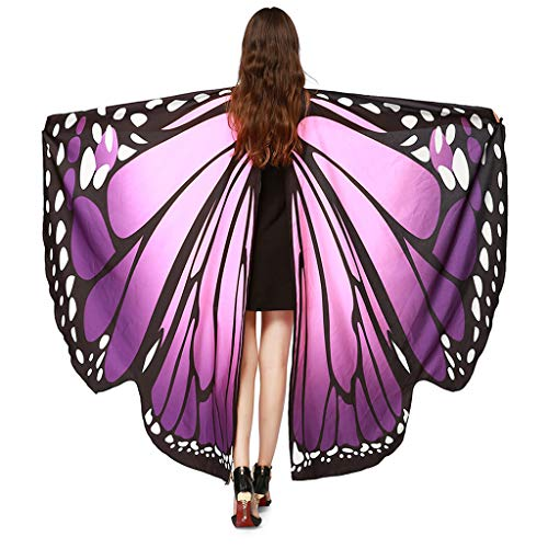 Women Butterfly Wings Shawl Scarves, Ladies Nymph Pixie Poncho Costume Accessory Party Fashion Beach Students outdoor - Wings Nymph Dark
