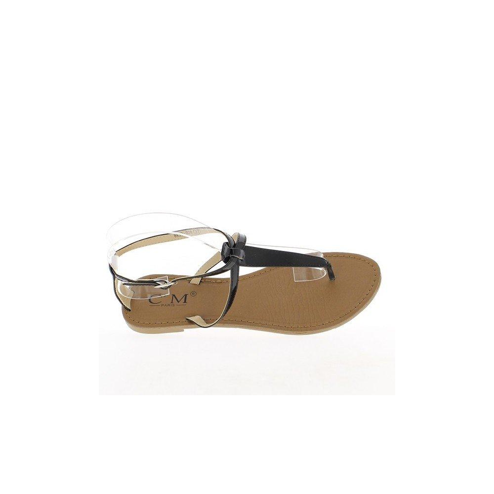 b14846193e55c ChaussMoi Nu-pieds femme noirs vernis à fines brides  Amazon.fr  Chaussures  et Sacs