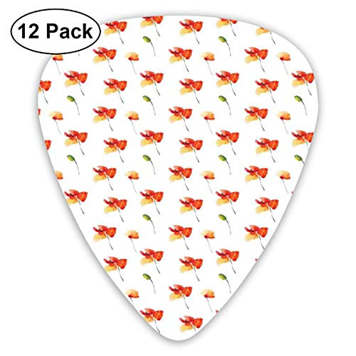 Guitar Picks 12-Pack,Pastel Meadow Poppy Idyllic Rural Buds Mother Nature Print
