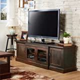 68.5'' TV Stand in Vintage Walnut with Two Side Cabinets and One Spacious Glass Paneled Cabinet