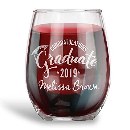 Graduation Gifts, Personalized 15 oz. Stemless Wine Glass |Congrads |Engraved with your NAME and YEAR, Grad Gift Ideas -
