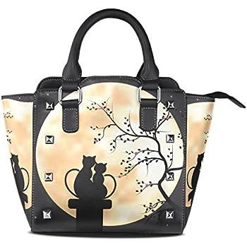 Womens Moon Cat Couples Leather Handbags Purses Shoulder Tote Satchel Bags