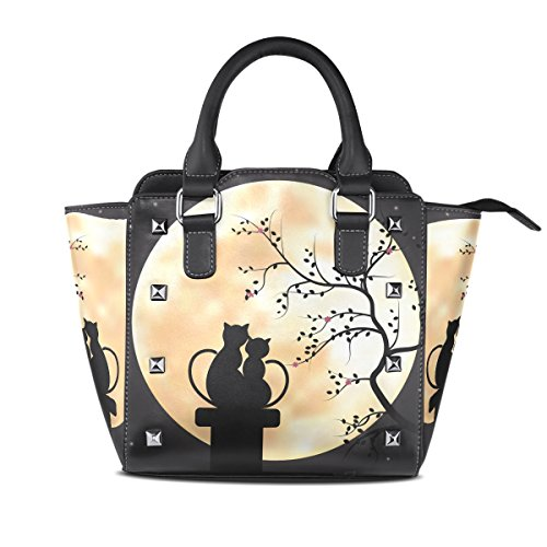 Womens Moon Cat Couples Leather Handbags Purses Shoulder Tote Satchel Bags