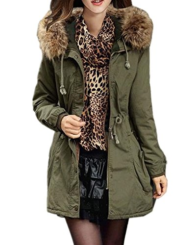 - Sorrica Women's Winter Warm Faux Fur Lined Hooded Jacket Coats Parkas (XL, Army Green)