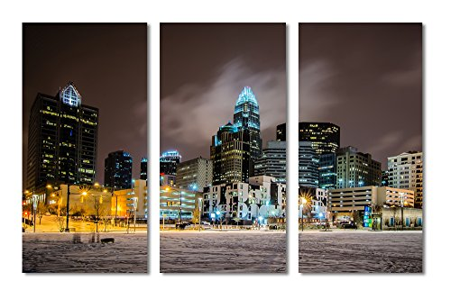 "Charlotte Wrap (LARGE – 45x30 – Charlotte, North Caroline skyline during a winter night - 3 Panel Split (Triptych) Canvas Print. (15x30 each panel). Gallery Wrap Stretched on 1.5"" setretcher bars.)"