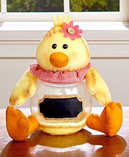 KNL Store Easter Candy Jar with Chalkboard Label Decorative Spring Table Top Accents Decoration (Chick)