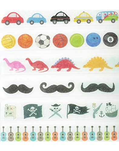 Boy Birthday Party Washi Tape Set (6 Rolls Total - 1 of Each Design Pictured) - Decorative Tape with Guitars, Dinosaurs, Pirates, Sports, Cars & Mustache Self Adhesive Tape (Halloween Duct Tape Dress)