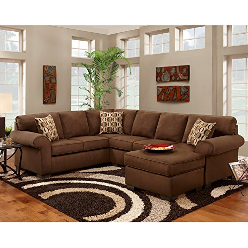 Flash Furniture Exceptional Designs By Patriot Chocolate Microfiber U Shaped  Sectional Sofa