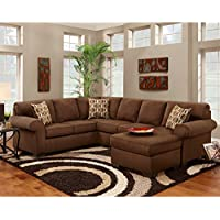 Flash Furniture Exceptional Designs By Patriot Chocolate Microfiber U-Shaped Sectional Sofa