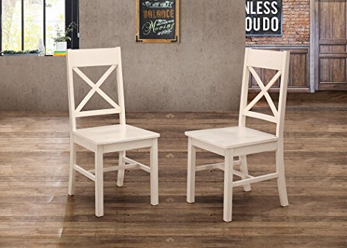 WE Furniture Millwright Wood Dining Chairs For Dining Room Kitchen, Set of 2, Antique White, Rustic Open Back Chairs