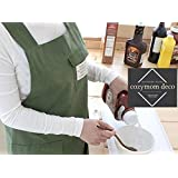 Cozymom Chef Apron Gift Japanese Style X Shape Denim Smock Natural Cotton Apron-khaki Color