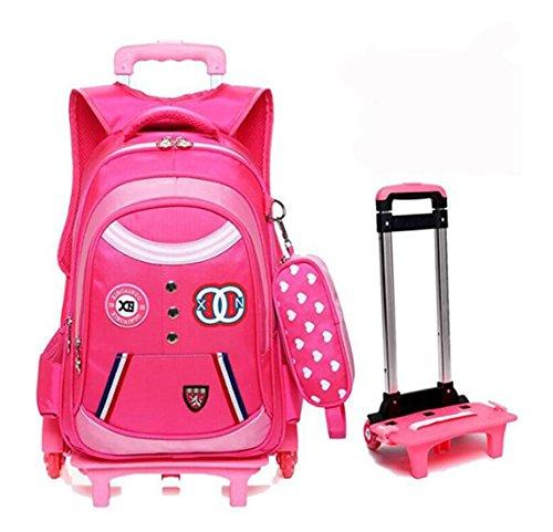 Ebess Backpacks Kids School Bag Boys Girls Shoulder Bag Trolley Bag Pull Rod With Pencil Case Waterproof Fabric (Red)