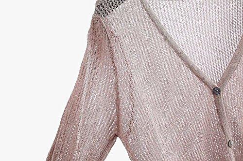 Unica Coprispalle Giacca Trasparente Lunghe Maniche A Donna Cardigan Bolero Taglia Top Pink Collo Casual Con Corto V Bianco xFwABA1