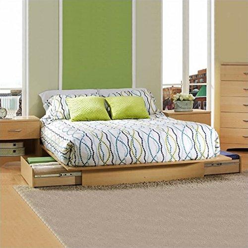 South Shore Copley Full/Queen Wood Storage Platform Bed 4 Piece Bedroom Set in Maple