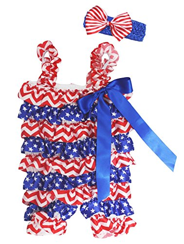 Petitebella 4th July Dress Red White Blue Chevron Stars Baby Romper Nb-36m (3-12 Months) -