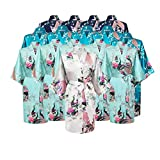 Floral Bridal Party Bride & Bridesmaid Robe Sets, Sizes 2 To 20 (Set Of 15)