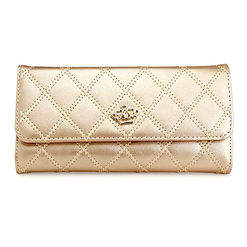 Oct17 Fashion Lady Check Plaid Faux Leather Women Wallet Clutch Long Purse Card Holder Handbag - Gold