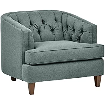 Amazon Com Alfred Natural Fabric Club Chair With Ottoman