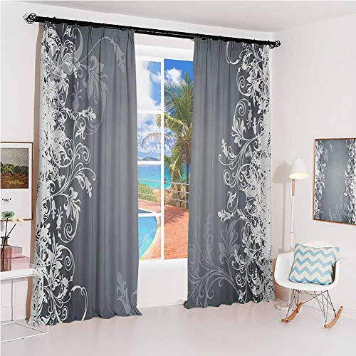 GUUVOR Floral Studio partition Living Room Curtain Flower Arrangement Contrasting Colors Wildflowers Leaves Stalks Nature Inspirations for Living Room or Bedroom W52 x L84 Inch Grey White (Curtains Silk Pink Taffeta)