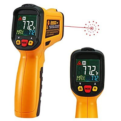 Infrared thermometer Exeblue Digital Laser Ir Thermometer Non Contact Kitchen Thermometer Temperature Gun Color Display -58°F~1022°FWith 12 Points Aperture Temperature Alarm Function