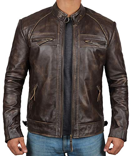 Blingsoul Classic Distressed Leather Jacket Men | [1100117] Claude, 3XL ()