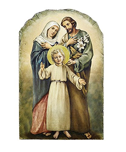 Catholic Holy Family Icon Tile Plaque with Stand, 8 1/2 Inch
