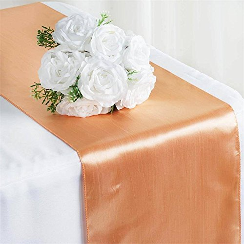 Tiger Chef 1-Pack Peach 12 x 108 inches Long Satin Table Runner for Wedding, Table Runners fit Rectange and Round Table Decorations for Birthday Parties, Banquets, Graduations, Engagements