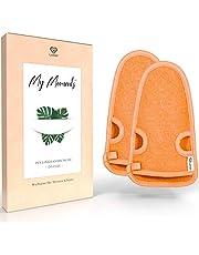 LoWell® – Peelinghandschoen Premium voor lichaam en gezicht (2 stuks) – Washandschoen voor douche, sauna en stoombad – grove vezels – Wellness Peeling voor uw huid – Massagehandschoen (grijs of roze)