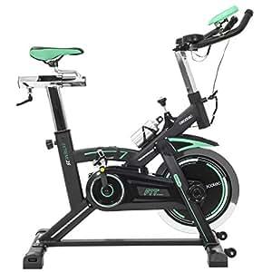 Cecotec Bicicleta Indoor Extreme 25 25kg Volante inercia, Pulsómetro, Pantalla LCD, Resistencia Variable, Estabilizadores, SilenceFit, Adultos Unisex, Negro/Gris/Verde