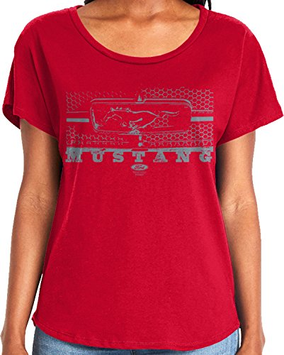 Designed Grille (Amdesco Ladies Ford Mustang Legend Honeycomb Grille Dolman T-Shirt, Red XL)