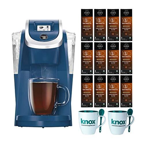Keurig K250 Single Serve K-Cup Pod Coffee Maker (Denim Blue) includes 36 K-cups and 2 Mugs Bundle (14 Items)