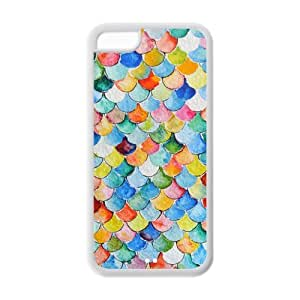 Mermaid Scales Pattern IPhone 5C Protective Case Hot Sale Black/ White.