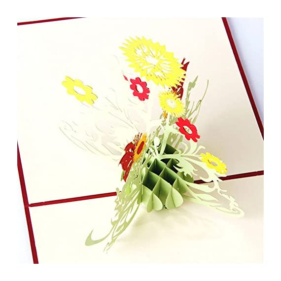 "Wivily Sunflower Handmade 3D Pop Up Christmas Cards Birthday Cards Best Wish Mother's Day Creative Greeting Cards Papercraft 3 Material: Paper Size: 15cm/5.91"" in length , 15cm/5.91"" in width Color: Green Quantity:1Pc"