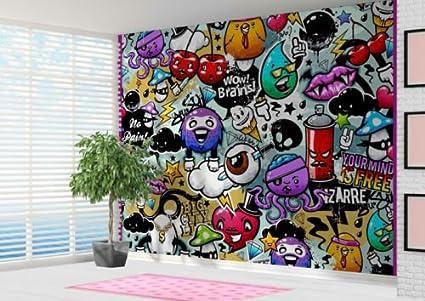 graffiti stickerbomb style wallpaper wall mural wall art graffitiimage unavailable image not available for colour graffiti stickerbomb style wallpaper wall mural