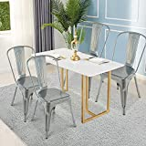 GentleShower Metal Dining Side Chair, Set of 4 Stackable Tolix Style Indoor-Outdoor Use Stackable Dining Chairs Kitchen Modern Style Chairs Silver