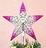 8 Inch Christmas Tree Topper 5 Point Star Xmas Decorative Ornament (8 Inch, Purple)
