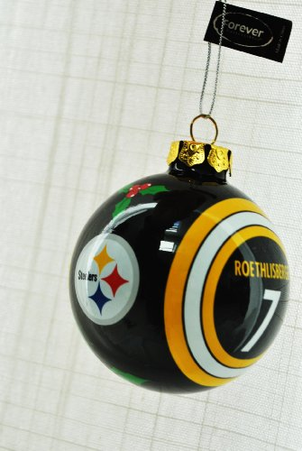 Ben Roethlisberger #7 Pittsburgh Steelers Collectors Edition Glass painted Christmas tree ornament