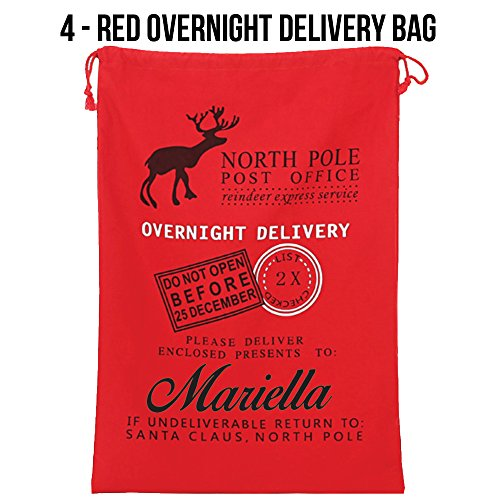 Manateez Santa Sack Customizeable Christmas Gift Bags for Children with Draw Strings, Red Overnight Delivery
