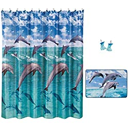 Allure Home Creations Jump for Joy Bathroom Set - 70x72 Inches Dolphin Shower Curtain with 12 Hooks and Rug Mat Set